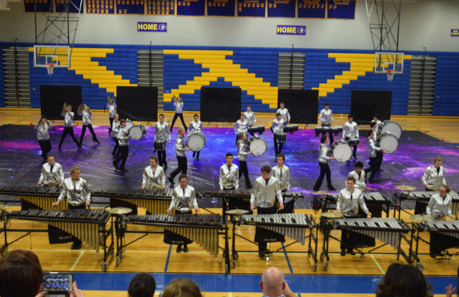 The indoor drumline shoots for the stars in a recent performance.