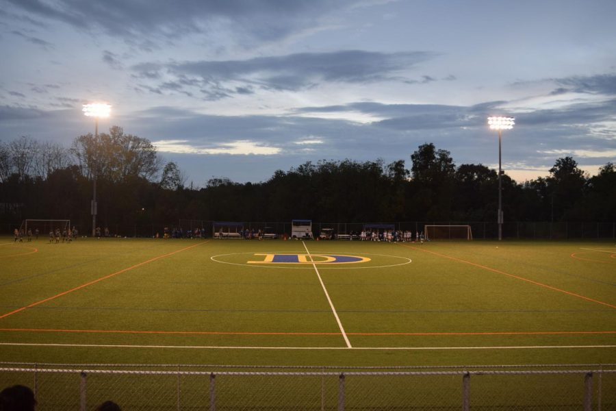 Diserafino field awaits the rival teams of Downingtown West and Downingtown East for the start of a late night game.
