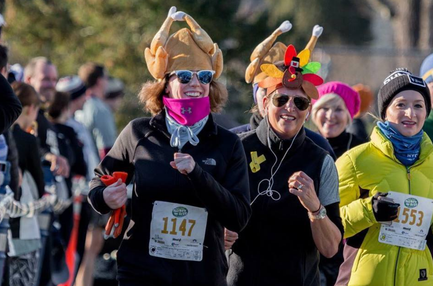 Gobble, gobble! This year's race participants showed their Thanksgiving spirit and smiled as they ran.