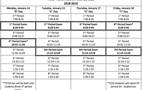 The 2018-2019 Midterm Schedule calls for exams during the week of 1/14/18-1/18/18.