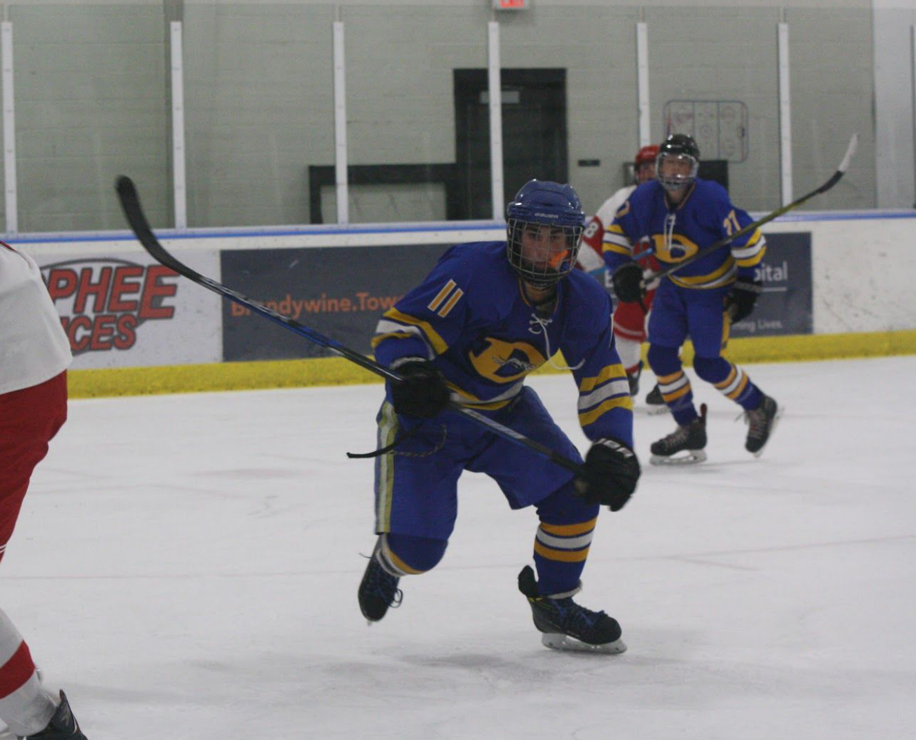 Assistant Captain Josh Biskowitz ('19) chases after a loose puck in a 6-0 West win over Owen J. Roberts