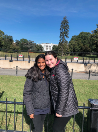 On a visit to the nation's capital, Samantha Haltom and her Danish exchange student Lavanya Michaelsen pose in front of the White House.
