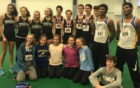 Beaming after a successful day at States competition for Indoor Track and Field, some of the team's participants smile for a group photo. (Listed left to right, Top: Malaika Furtado, Chloe Stanfield, Kennedy Zednik, Grace Mucha, Joe Chamoun, Payton Sewall, Ethan Robinson, Isaac Valderrabano, Ali Hader, Terrence Gainer, Marcus Gainer Bottom: Sarah Schreiber, Lauren Flannery, Regan Flannery, Nina Gallagher, Ashley Cichon and Jack Capello)