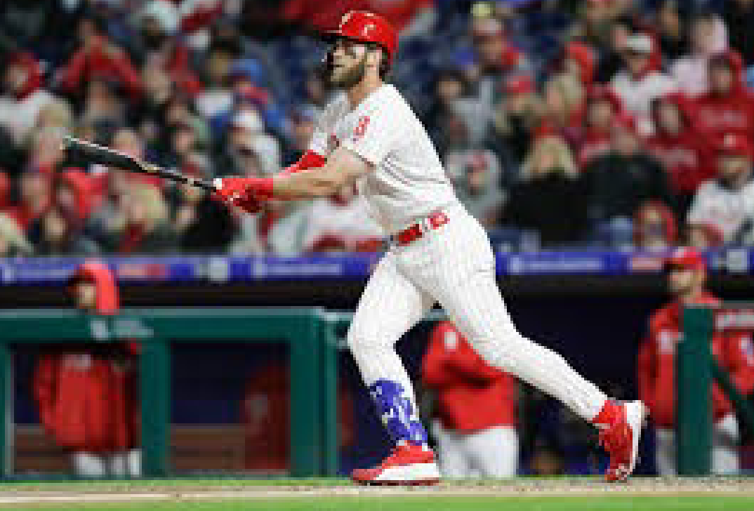 Making moves! Bryce Harper got off to a great start in April for the Fightin' Phils.
