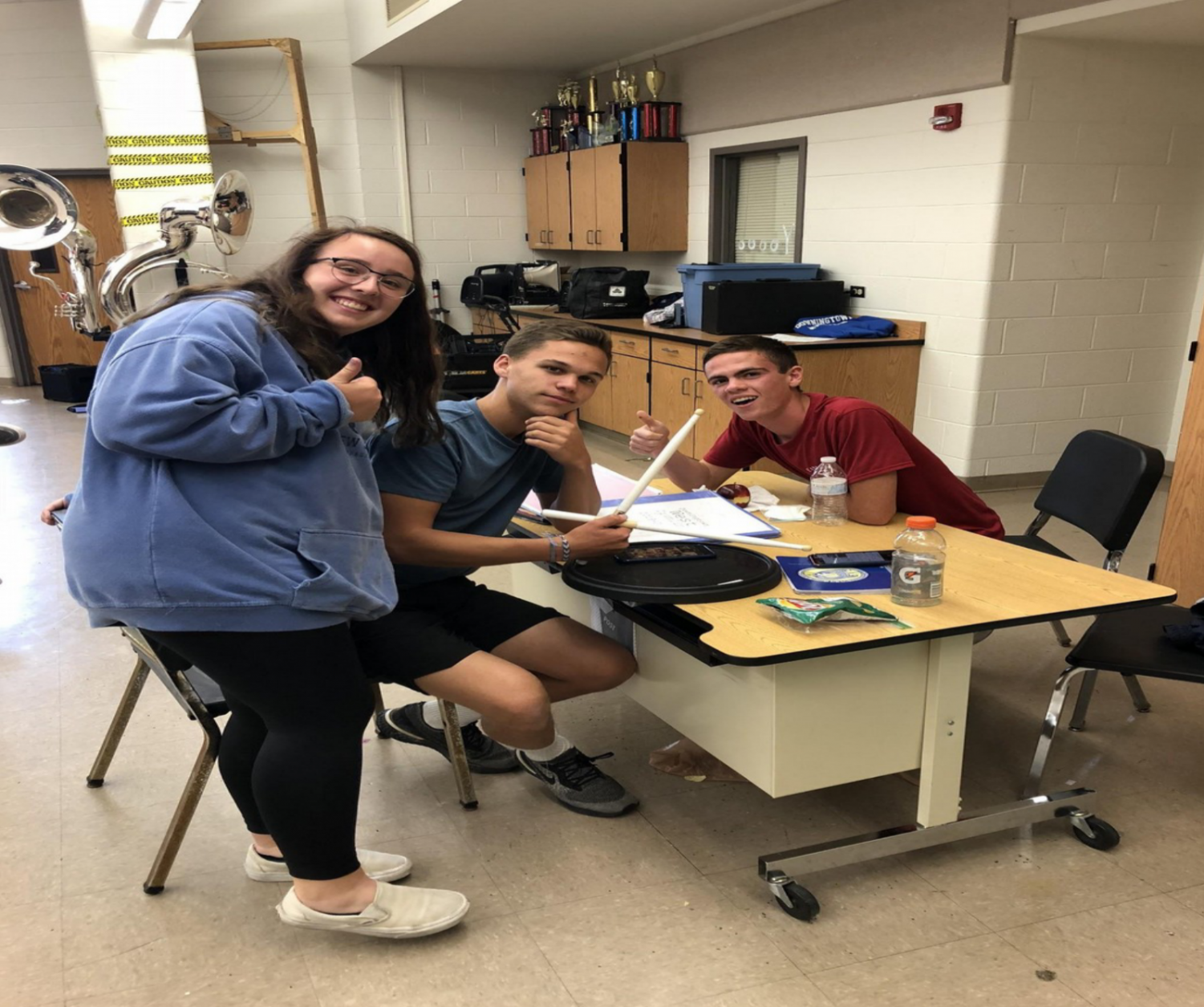 So dedicated! Alexandra Mayer ('20), Brenden Mascherino ('20), and Stephan Burns ('20) put in study and practice time in the bandroom.