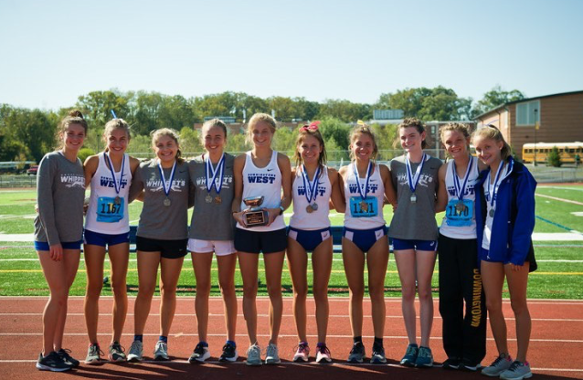 You go girls! D-West Varsity Cross Country takes 2nd place at Ches-Monts last Friday, October 14th.