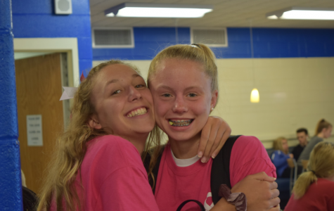 Lizzie Lembo ('20) and Corrin Buczacki ('21) show their school spirit by participating in WEST's Pink Out!