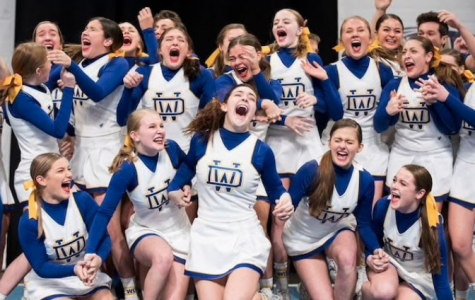 We did it!  The varsity cheer team reacts immediately after they are announced the 2020 PA State Champions!
