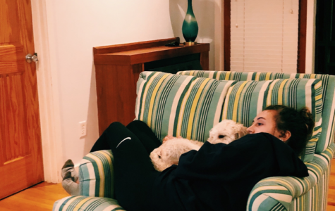 Cuddle time! Tish Cichon ('22) takes a nice evening nap with her puppy during the social distancing period at home.